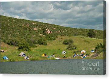 Tent Camping At Horsetooth Reservoir Canvas Print by Harry Strharsky