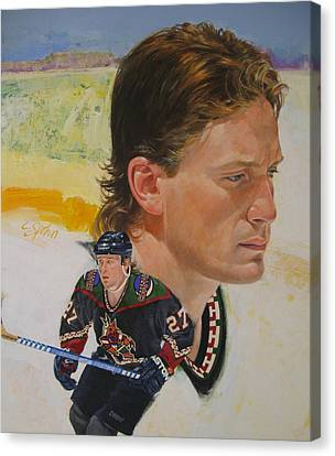 Canvas Print featuring the painting Teppo Numminen by Cliff Spohn