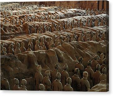 Terra-cotta Soldiers Face An Imaginary Canvas Print by O. Louis Mazzatenta