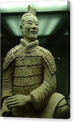Terra Cotta Warrior Excavated At Qin Canvas Print by Richard Nowitz