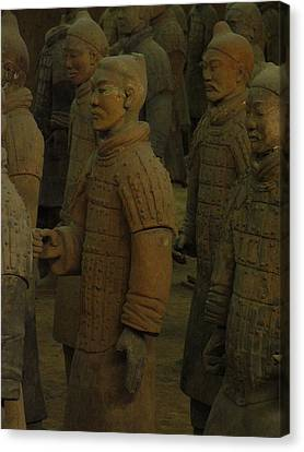Terra Cotta Warriors Excavated At Qin Canvas Print by Richard Nowitz