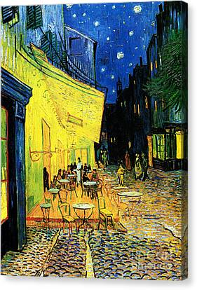 Terrace Of The Cafe On The Place Du Forum In Arles In The Evening Canvas Print