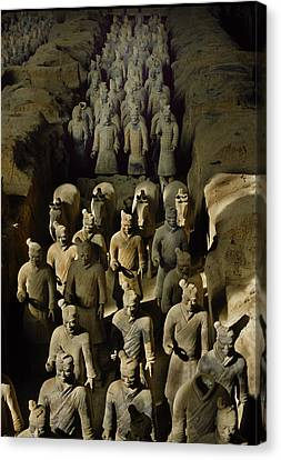 Terracotta Warriors And Horses March Canvas Print by O. Louis Mazzatenta