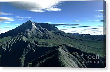 Terragen Render Of Mt. St. Helens Canvas Print by Rhys Taylor