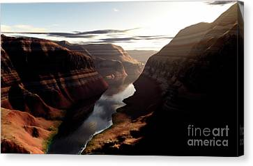 Terragen Render Of Trail Canyon Canvas Print by Rhys Taylor