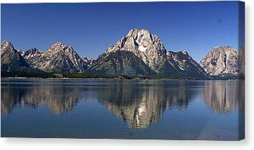Teton Panoramic View Canvas Print by Marty Koch