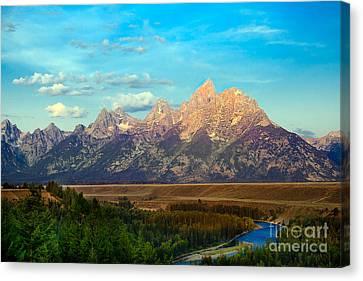 Teton Range At Sunrise Canvas Print by Robert Bales