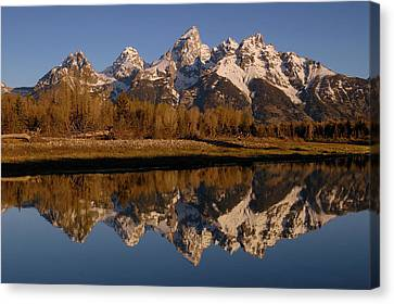 Teton Range, Grand Teton National Park Canvas Print by Pete Oxford