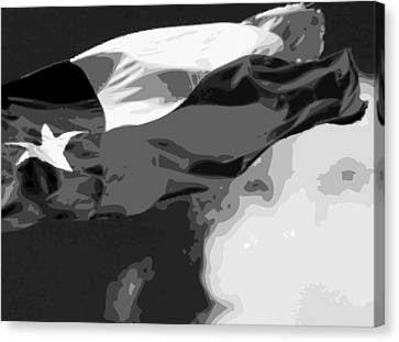 Texas Flag In The Wind Bw15 Canvas Print by Scott Kelley