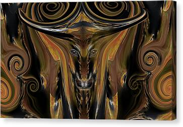 Texas Longhorn Abstract Digital Painting Canvas Print by Heinz G Mielke