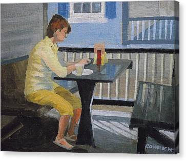 Texting At Breakfast Canvas Print by Robert Rohrich