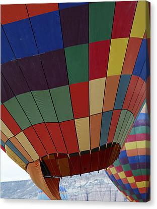 Texture Two Hot Air Balloons Canvas Print by Kantilal Patel