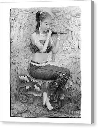 Thai Style Bas-relief Decorated On  Wall  Canvas Print by Phalakon Jaisangat