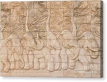 Thai Style Handcraft Of Elephant Canvas Print by Phalakon Jaisangat