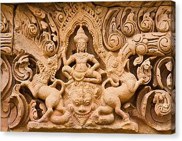Thai Style Molding Art In The Temple Canvas Print by Songsak Wilairit