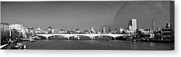 Thames Panorama Weather Front Clearing Bw Canvas Print by Gary Eason