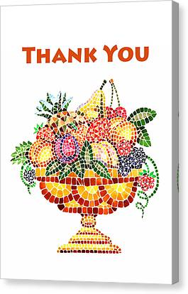 Thank You Card Fruit Vase Canvas Print by Irina Sztukowski
