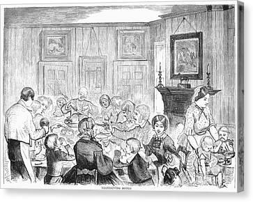 Thanskgiving Dinner, 1857 Canvas Print by Granger