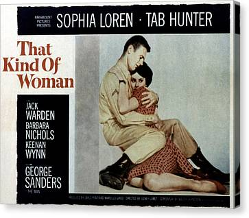 That Kind Of Woman, Tab Hunter, Sophia Canvas Print by Everett