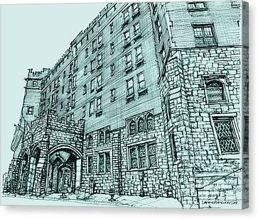 Thayer Hotel In Blue Canvas Print by Building  Art