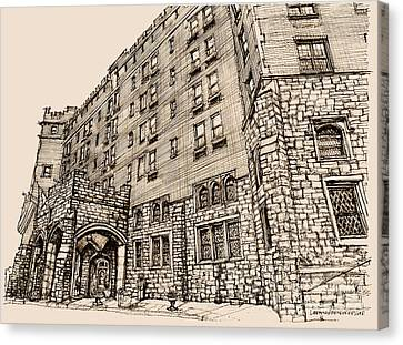 Thayer Hotel In Pink Canvas Print by Building  Art
