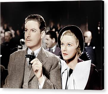 The 39 Steps, From Left Robert Donat Canvas Print by Everett