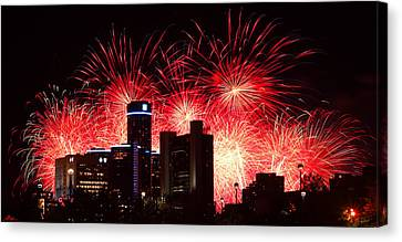 Canvas Print featuring the photograph The 54th Annual Target Fireworks In Detroit Michigan - Version 2 by Gordon Dean II
