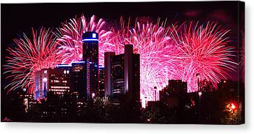 The 54th Annual Target Fireworks In Detroit Michigan Canvas Print by Gordon Dean II