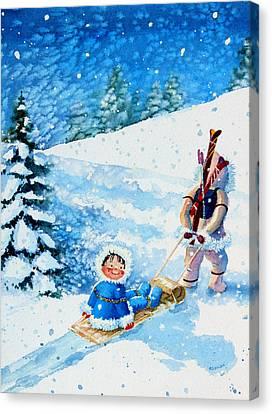 The Aerial Skier - 1 Canvas Print by Hanne Lore Koehler
