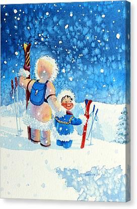 The Aerial Skier - 4 Canvas Print by Hanne Lore Koehler