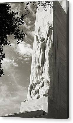 The Alamo Cenotaph In Black And White Canvas Print by Sarah Broadmeadow-Thomas
