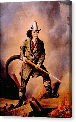 The American Fireman Facing The Enemy Canvas Print by Everett