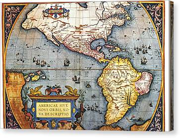 The Americas, 1587 Map By Abraham Ortelius Canvas Print by Fototeca Storica Nazionale