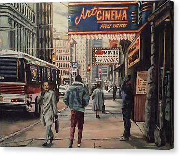 Canvas Print featuring the painting The Art Cinema In The 80s. by James Guentner