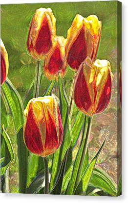 Canvas Print featuring the photograph The Artful Tulips by Nancy De Flon