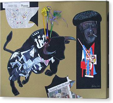 The Artist As A Bullfighter Canvas Print by Elena Malec