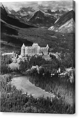 The Banff Springs Hotel In The Bow Canvas Print by Everett