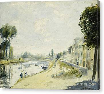 The Banks Of The Seine At Bougival Canvas Print by Pierre Auguste Renoir