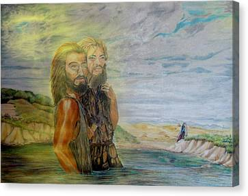 The Baptism Of Yeshua Messiah Canvas Print by Anastasia Savage Ealy