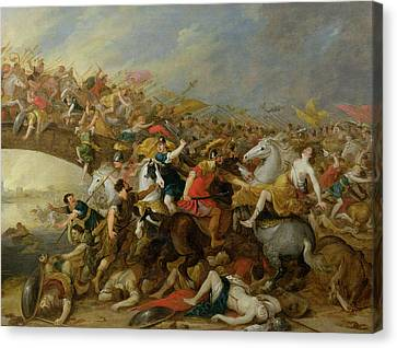 The Battle Between The Amazons And The Greeks Canvas Print by Pauwel Casteels