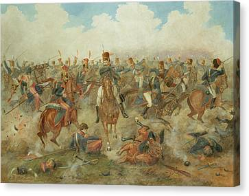 Lancer Canvas Print - The Battle Of Waterloo June 18th 1815 by John Augustus Atkinson