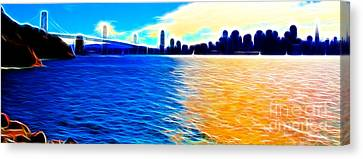The Bay Bridge And The San Francisco Skyline . Panorama Canvas Print by Wingsdomain Art and Photography