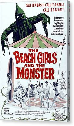 The Beach Girls And The Monster Canvas Print by Everett
