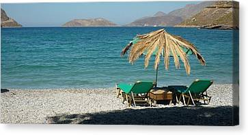 The Beach Umbrella Canvas Print by Therese Alcorn