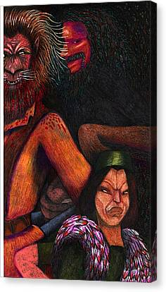 The Beast Meets With Asema And The Forest Lord Canvas Print by Al Goldfarb