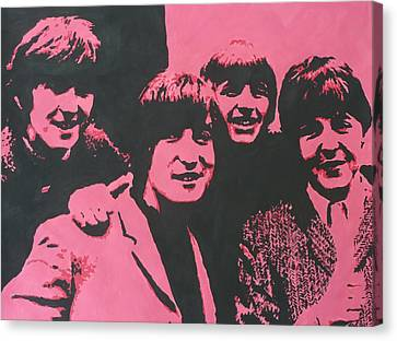 The Beatles In Pink Canvas Print