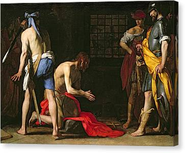 The Beheading Of John The Baptist Canvas Print by Massimo Stanzione
