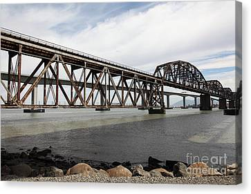 The Benicia-martinez Train Bridge In California - 5d18675 Canvas Print by Wingsdomain Art and Photography