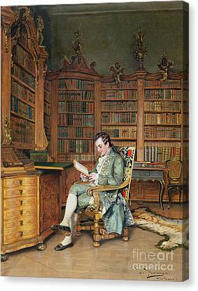 Reading A Book Canvas Print - The Bibliophile by Johann Hamza