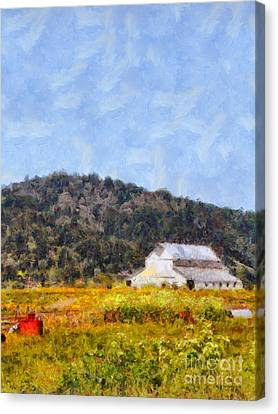 The Big White Barn At Point Reyes California . 7d15933 Canvas Print by Wingsdomain Art and Photography
